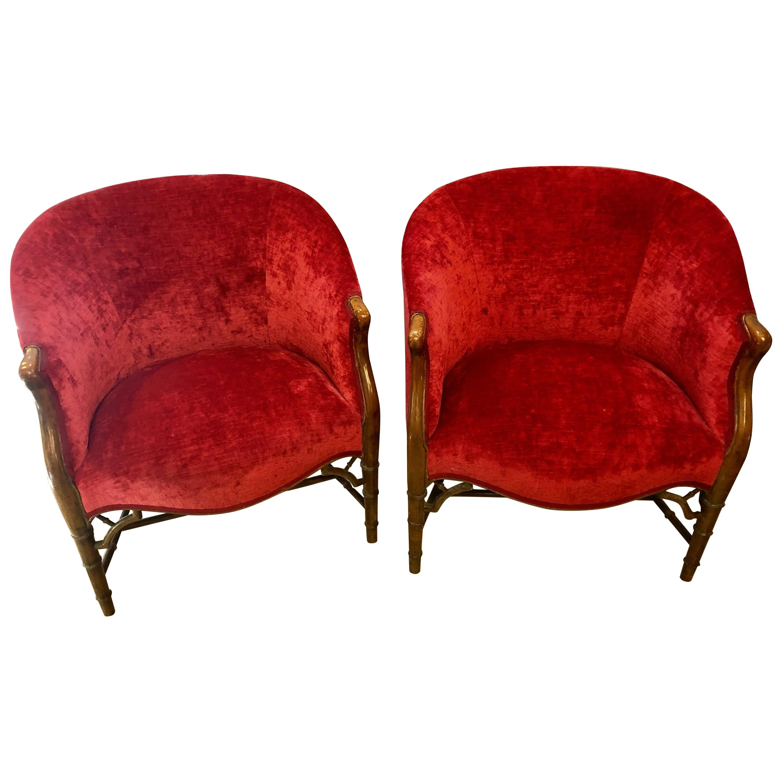 Pair of Bamboo Legged Cherry Red Velour 19th-20th Century Barrel Back Chairs