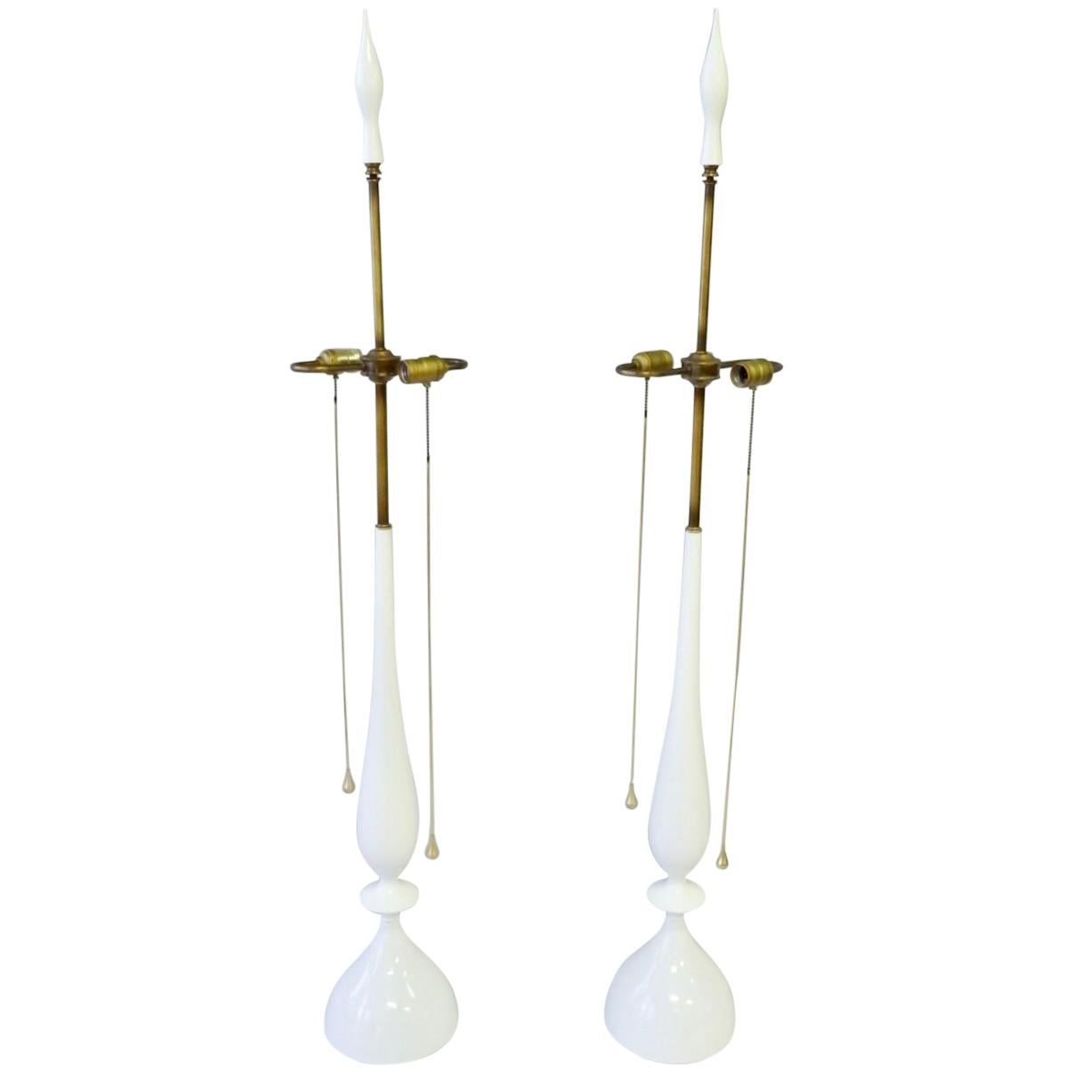Tommi Parzinger Style White Lacquer with Brass Pull Rembrandt Table Lamps, Pair