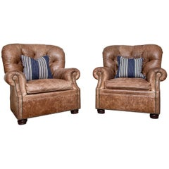 Fine Pair of Tufted Leather Library Club Chairs by Craftwork