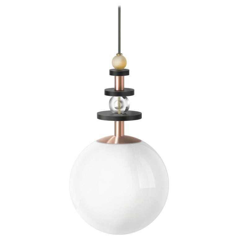 Maru Globe Pendant Light with Tall Stack of Beads in Copper or Brass For Sale