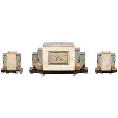 French Art Deco Clock Set Garniture Set