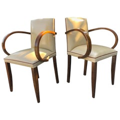 Glamorous Form Walnut 1940s French Side Chairs in Cream Leather Tobacco Piping