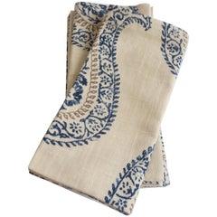Handmade Linen Napkins with Paisley Print