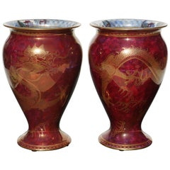 Pair of Wedgwood Lustre Red Dragon Vases, 1900