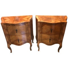 Pair of 18th Century Italian Inlaid Bedside Fruitwood Nightstands, Comodini