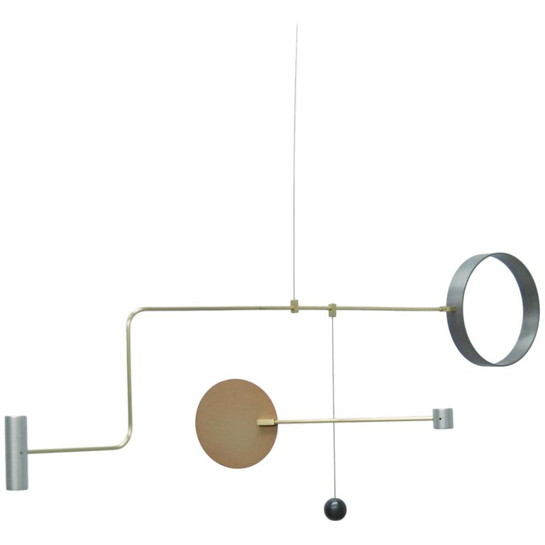 Sculptural Point Counterpoint Mobile C in Brass, Aluminum and Copper For Sale