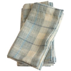 Blue Plaid Linen Napkins