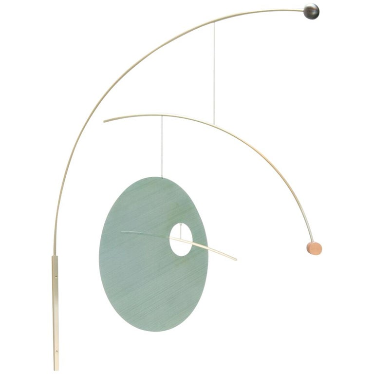 Sculptural Full Lune Mobile in Brushed Brass and Anodized Aluminum For Sale