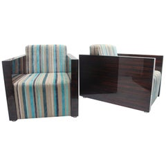 "Art Deco Macassar Ebony  Lounge Chairs ""Gael"" by Fermín Verdeguer for Darc, 2002"