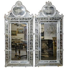 Pair of Venetian Etched Glass Mirrors