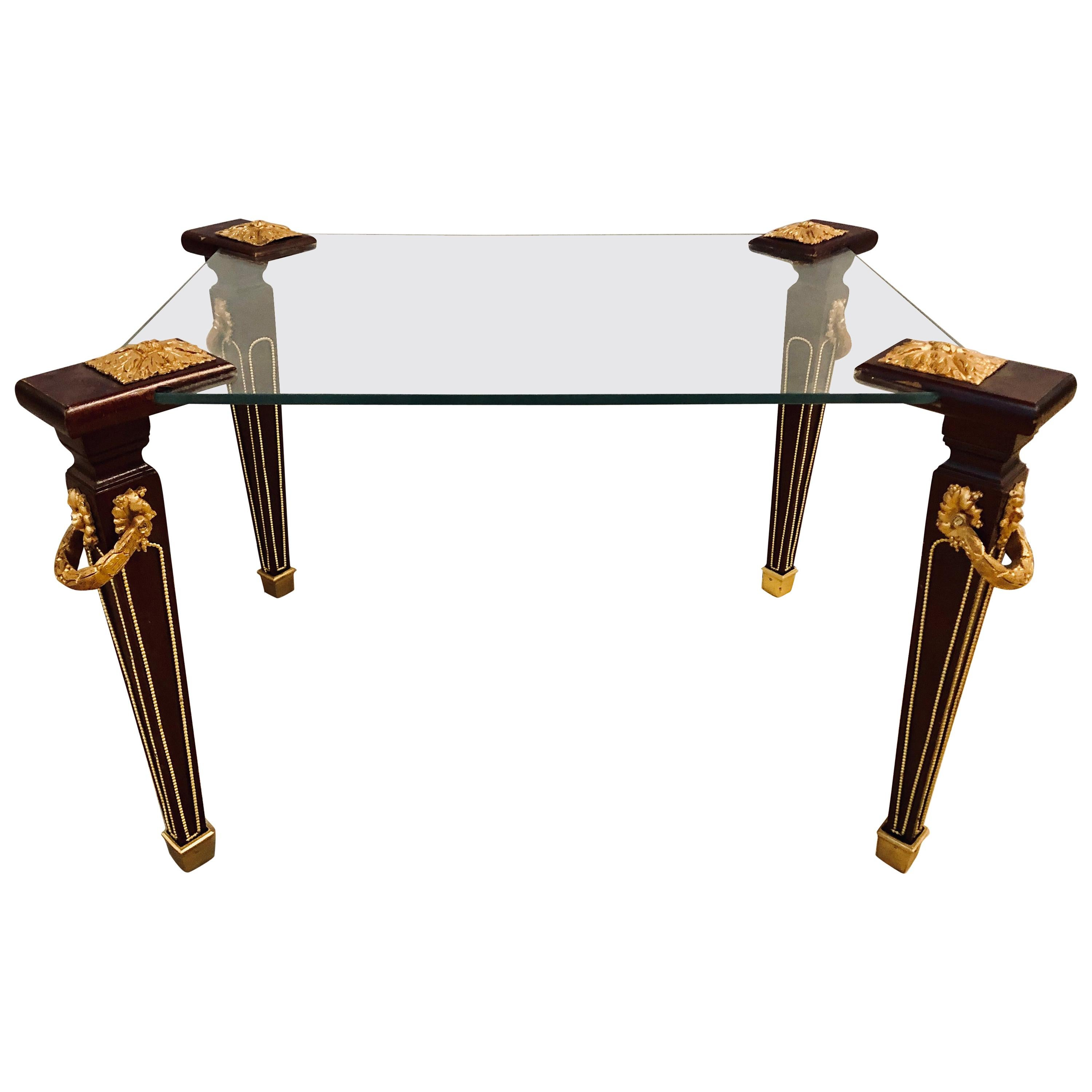 Maison Jansen Bronze Mounted Louis XVI Style Glass Top Coffee End Table