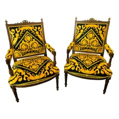 Pair of 19th-20th Century Louis XVI Style Carved Armchairs