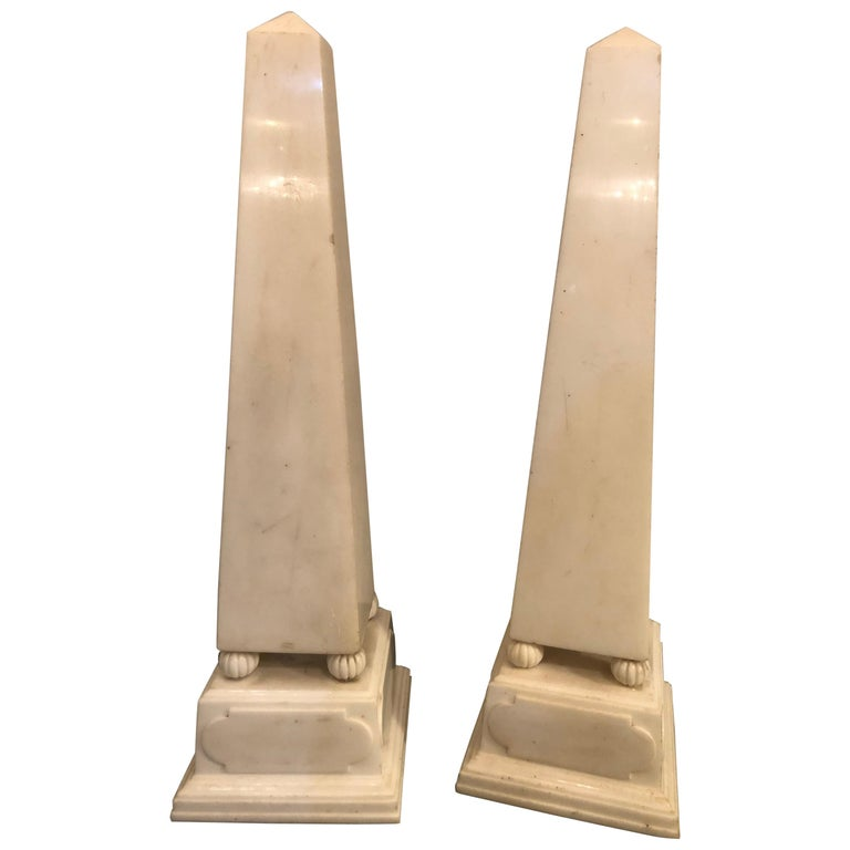 Pair of Large Antique 19th-20th Century Solid Marble Obelisks on Pedestals For Sale