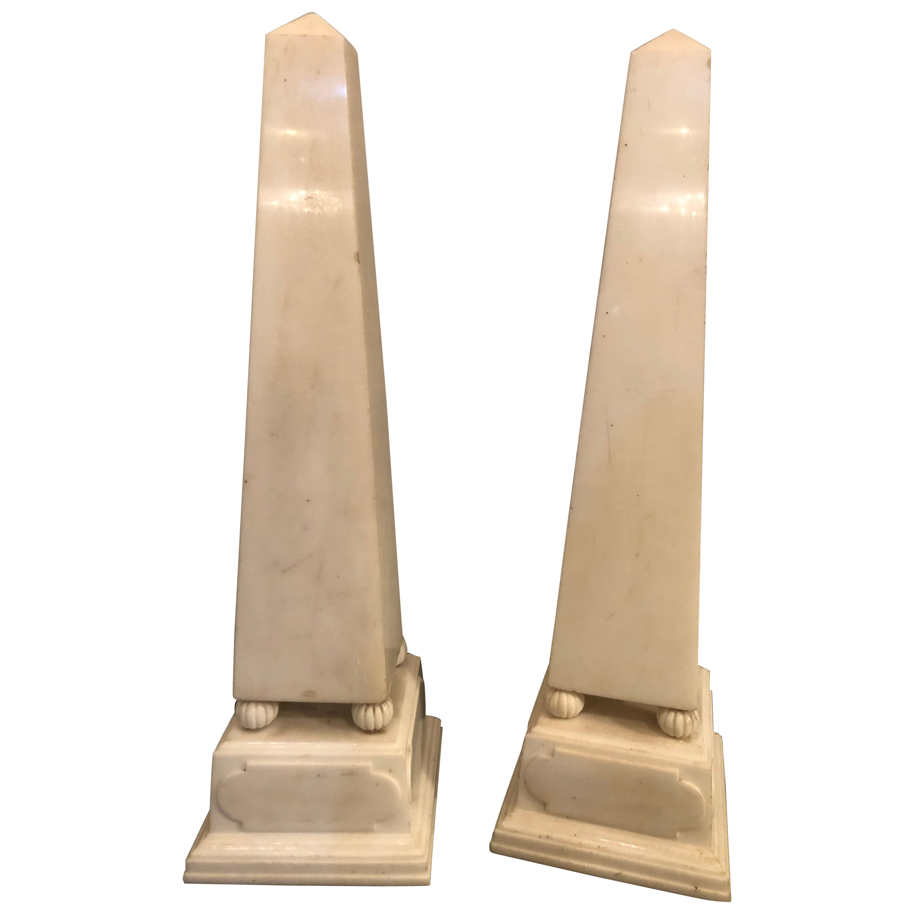 Pair of Large Antique 19th-20th Century Solid Marble Obelisks on Pedestals