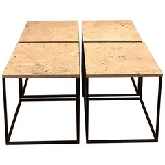 French 1950s Set of Metal and Travertine Tables