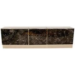 Contemporary Modern Chrome Black Tessellated Marble Credenza Ello, 1980s