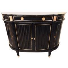 Jansen Louis XVI Style French Demilune Server Sideboard Cabinet