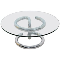 Mid-Century Modern Anaconda Chrome and Glass Coffee Table by Paul Tuttle, 1970s