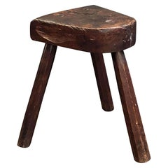 English Primitive or Rustic Three-Legged Milking Stool of Oak