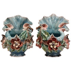 Pair of 19th Century French Barbotine Cachepots with Hand Painted Flowers