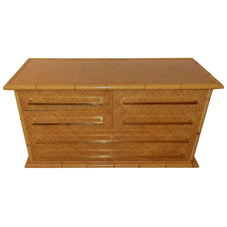 Bamboo Framed Commode, France, Midcentury For Sale