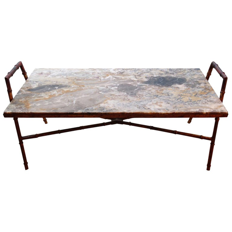 Faux Bamboo Iron Coffee Table, France, Midcentury For Sale