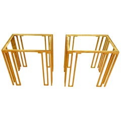 Bronze Pair of Side Tables, Italy, Contemporary
