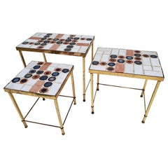 Set of 3 Belgian Vintage Polished Brass and Ceramic Nesting Tables