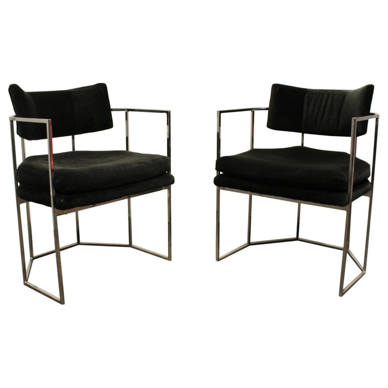 Pair of Milo Baughman for Thayer Coggin Chrome Armchairs 1
