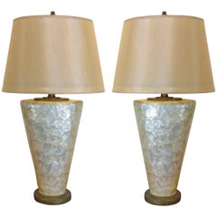 "Large ""Glam"" Tessellated Capiz-Shell Table Lamps, Pair"