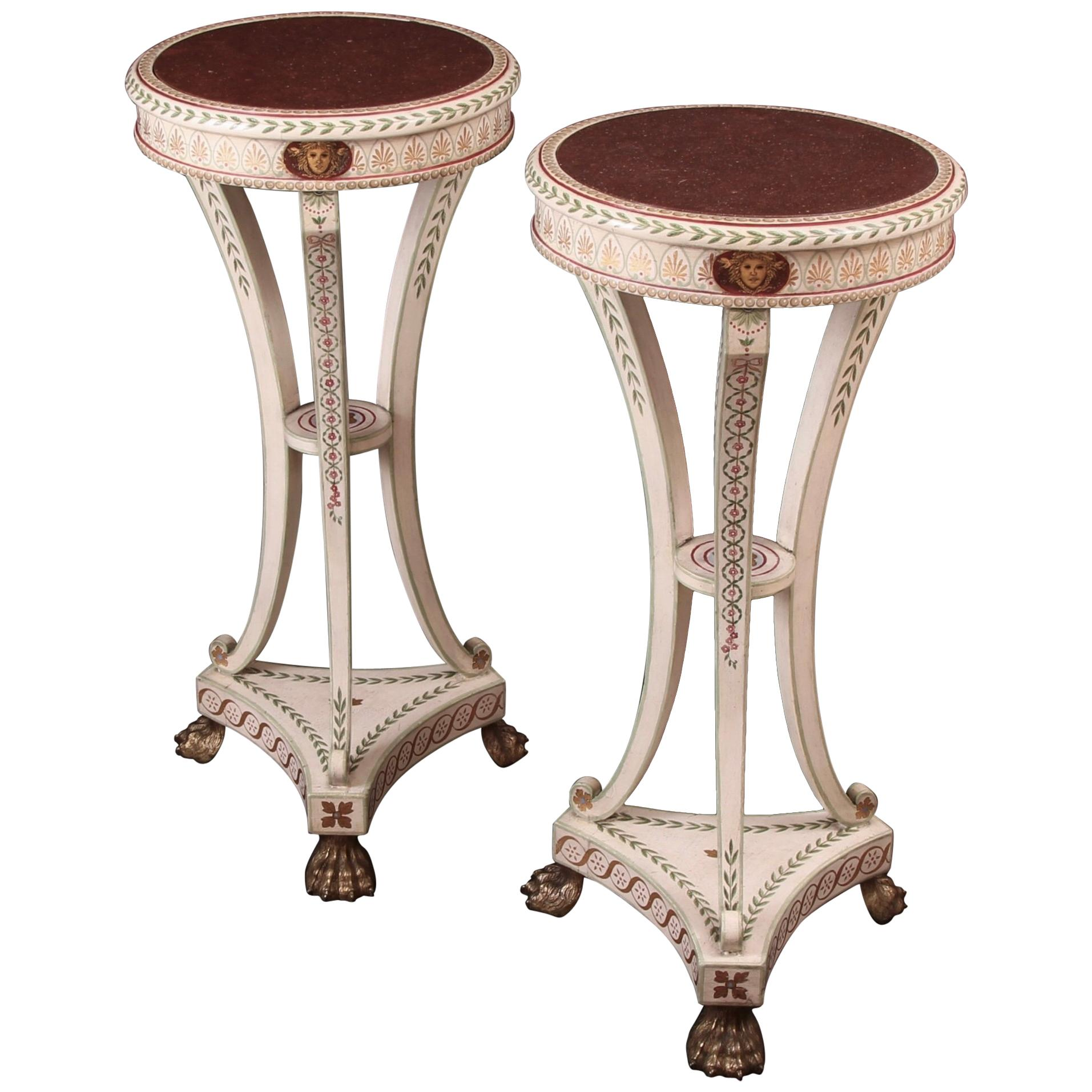 Pair 19th Century Neoclassical Painted Parcel-Gilt Torcheres