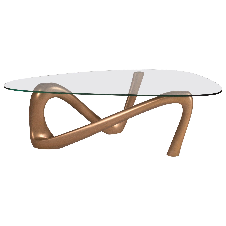 "Amorph Iris Coffee Table, Gold Finish, 62"" L"