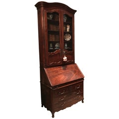 18th Century Louis XV Bureau Scriban Bibliotec Secretary Cabinet in Mahogany