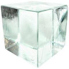 Monumental Sculptural Cast Glass Cube