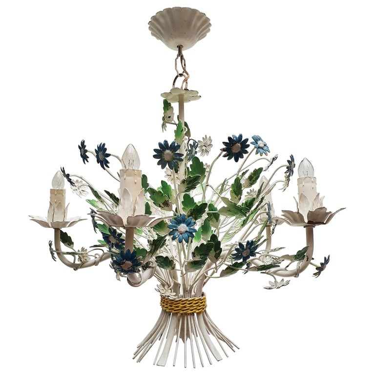 Midcentury French Painted Iron and Tole Chandelier with Flowers For Sale