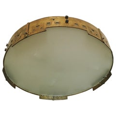 Unique Large Spanish Art Deco Brass Flush Mount Ceiling Lamp, 1920s