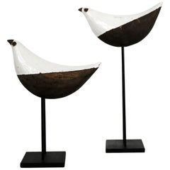 Aldo Londi Bird on Stand, Bitossi for Rosenthal-Netter Mid-Century Modern, Pair