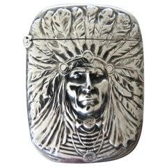 Art Nouveau Sterling Silver Match Safe, Indian Head, American, circa 1905