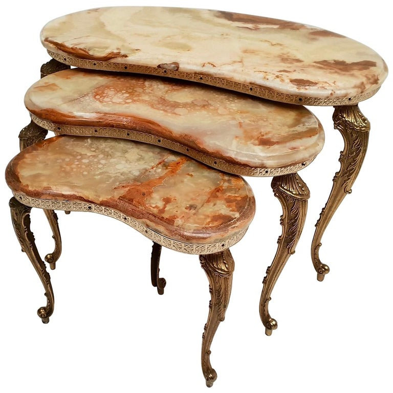 Set of 3 Italian Vintage Polished Brass and Marble Nesting Tables For Sale