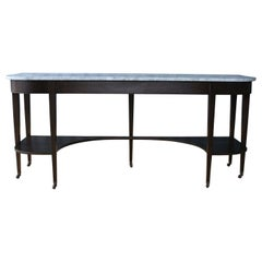 1940s Walnut Console Table with Marble Top