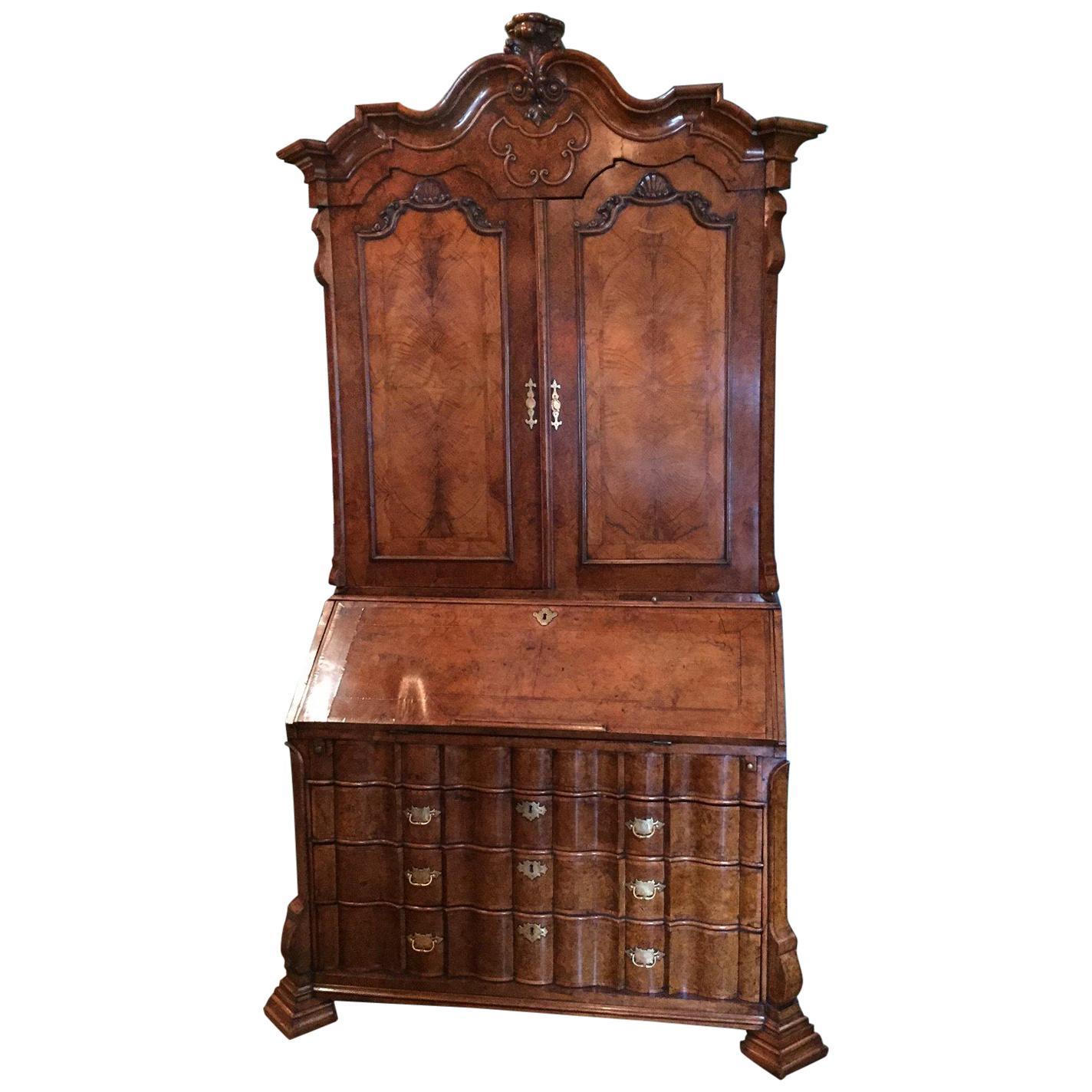 18th Century Dutch Burl Walnut Secretary Cabinet Scriban Desk library Antique LA