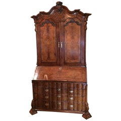 18th Century Dutch Burl Walnut Secretary Cabinet Scriban Desk