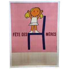Original Vintage Poster, Fête de Mères, Advertising Mothers Day in France