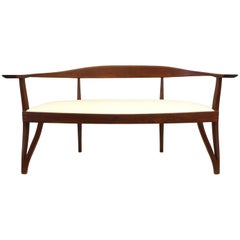 American Craft Hand Carved Wood Settee