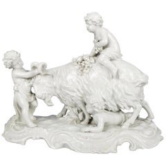 Antique Italian Capodimonte Figural Blanc de Chine Grouping, Cherubs & Goat
