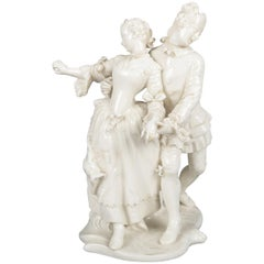 Antique & Petite German Figural Blanc de Chine Grouping, Dancing Courting Couple