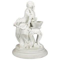 Antique English Parian Figural Genre Grouping of Woman & Washstand, 19th Century