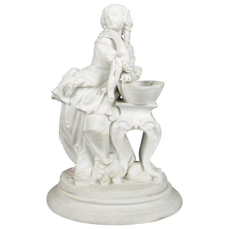 Antique English Parian Figural Genre Grouping of Woman & Washstand, 19th Century For Sale