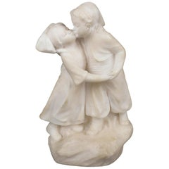 Antique Figural Hand Carved Alabaster Sculpture of a Boy, Girl & a Kiss