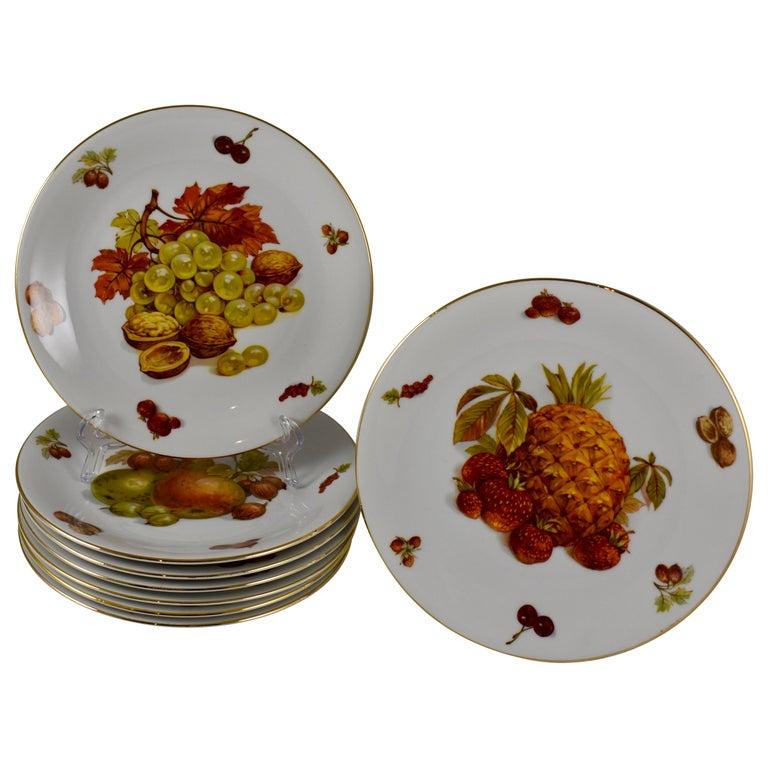 West German Selten Weiden Autumn Fruit & Nuts Porcelain Plates, Set of 8 For Sale